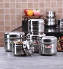 buy hazel silver round kitchen storage canister set of 5 with