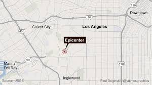 Los Angeles Downtown Map by 3 5 Earthquake Rattles Los Angeles La Times