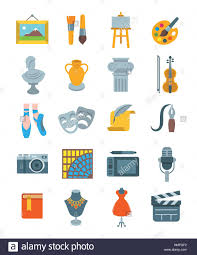 art and crafts flat vector icons set colorful symbols of painting