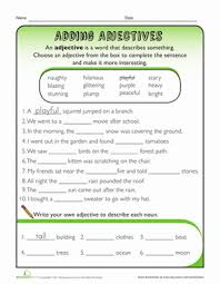 adjective fill in the blank worksheet education com