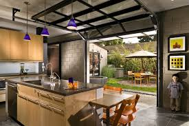 Glass Overhead Garage Doors Kitchen With Courtyard Outside Glass Garage Doors Modern
