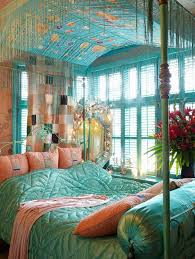 bohemian bedroom ideas bohemian style master bedroom with turquoise bed and pink pillows