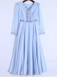 light blue long sleeve dress floral embroidered long sleeve chiffon dress light blue chiffon