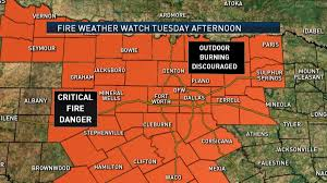 Dallas Weather Map by Fire Weather Watch Issued For North Texas Tuesday Nbc 5 Dallas