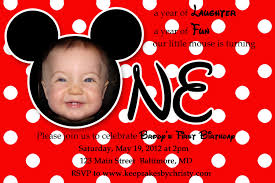 First Year Invitation Birthday Cards Mickey Mouse First Birthday Invitations