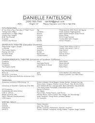 Actor Resume Special Skills Danielle Faitelson U2014 Columbia University Actors Graduate Theatre