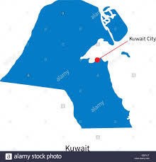 kuwait on a map detailed vector map of kuwait and capital city stock vector