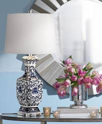 Blue Table Lamp Iris Blue And White Porcelain With Crystal Table Lamp Amazon Com