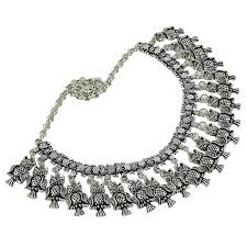 indian metal necklace images Buy silvertone ethnic oxidized metal choker necklace women indian jpg
