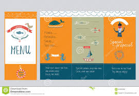 fish restaurant menu design hand drawn illustration stock vector