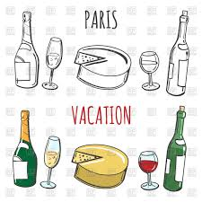 champagne clipart inscription paris and popular french food cheese wine and