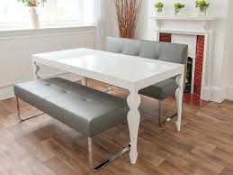 white dining room table with brown chairs bench grey gloss and