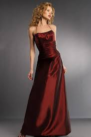 buy tailor made taffeta halter full length burgundy bridesmaid dress