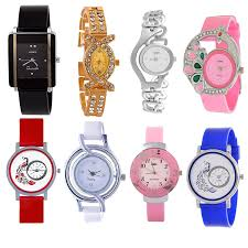 Watch buy codice combo of 8 analogue black blue pink white red