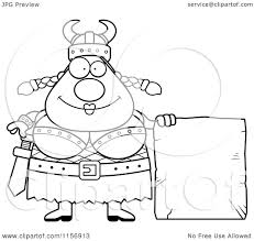 cartoon clipart of a black and white plump female viking with a