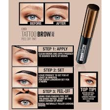 tattoo eyebrows by maybelline maybelline tattoo brow easy peel off tint 4 9ml feelunique