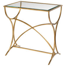 Iron Accent Table Glam Forged Iron Accent Table With Glass Top Scenario Home
