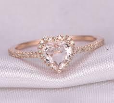 gold promise rings heart shape morganite engagement ring 14k gold 6mm