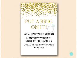 what do you put on a bridal shower registry gold glam bridal shower put a ring on it dont say