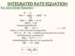 integrated rate equation for zero order reaction r p rate d