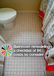Bathroom Remodel Order Of Tasks Bathroom Remodeling A Checklist Of 84 Costs To Consider Retro