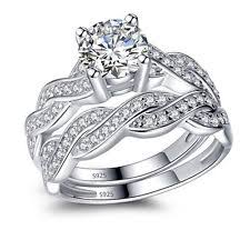 Womens Wedding Ring Sets by Cubic Zirconia Sterling Silver Engagement U0026 Band Ring Sets Ebay