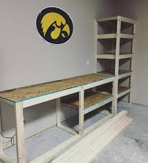 Free Standing Garage Shelves Plans by Garage Storage Shelving And Work Table Our Projects Pinterest