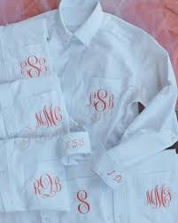monogram bride shirt set of 6 personalized oxford bridesmaid