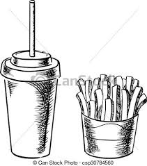 clip art vector of french fries and cold soda drink sketches