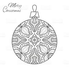christmas ball art for coloring book page stock vector art