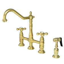brass kitchen faucet kitchen deck mount bridge faucet with brass sprayer