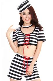Convict Halloween Costumes Black White Stripes Lace Prisoner Costume Cops Costumes