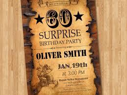 60th birthday invitation western birthday for men