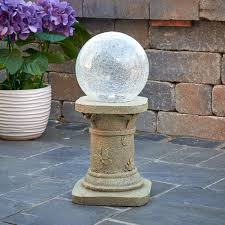 Gazing Globes Solar Gazing Ball With Pedestal Color Changing Smart Solar