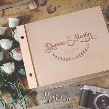 wedding guest book laser cut on cover personalised 50 sheet wooden wedding guest book