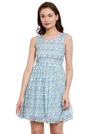 front cut out flared dress in blue print with gathers at waist