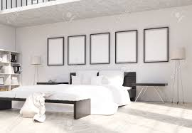 side view of modern bedroom interior design with blank picture