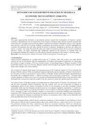 dynamics of government policies in nigeria u0027s economic development
