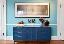 Hall Credenza Sideboard Buffet Hall Eclectic With Artwork Blue Entry Hall Blue