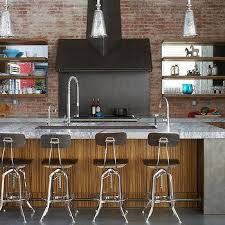 island with thick marble top zebra counter stools design ideas