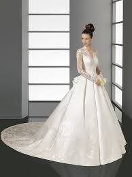 wedding dresses buy online refined sleeves v neck satin lace chapel appliques on