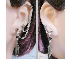 connecting earrings silver feather pierced earlobe cartilage chain earrings