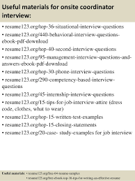 How To Prepare Resume For Job Interview by Top 8 Onsite Coordinator Resume Samples