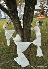 halloween decorations home made yard ghosts ring around tree 20