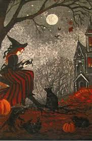 original halloween folk art painting witch bat ghost pumpkin