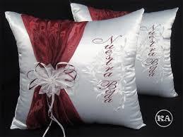 wedding pillows heidicollection wedding pillow with sash in burgundy