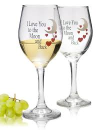 Wine Glass Gifts Amazon Com Moon And Back Valentine Wine Glasses Set Of 2