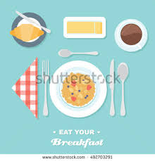 Formal Breakfast Table Setting Cartoon Table Setting Place Formal Vegetables Stock Vector