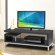 amazon com topeakmart modern black tv stand console table home