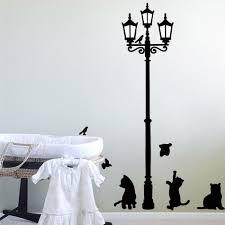 compare prices on kitten wall decal online shopping buy low price street lights and kittens diy wall sticker vinyl home decoration house living room bedroom